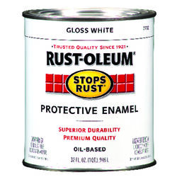 Rust-Oleum Stops Rust Indoor and Outdoor Gloss White Oil-Based Protective Paint 1 qt.