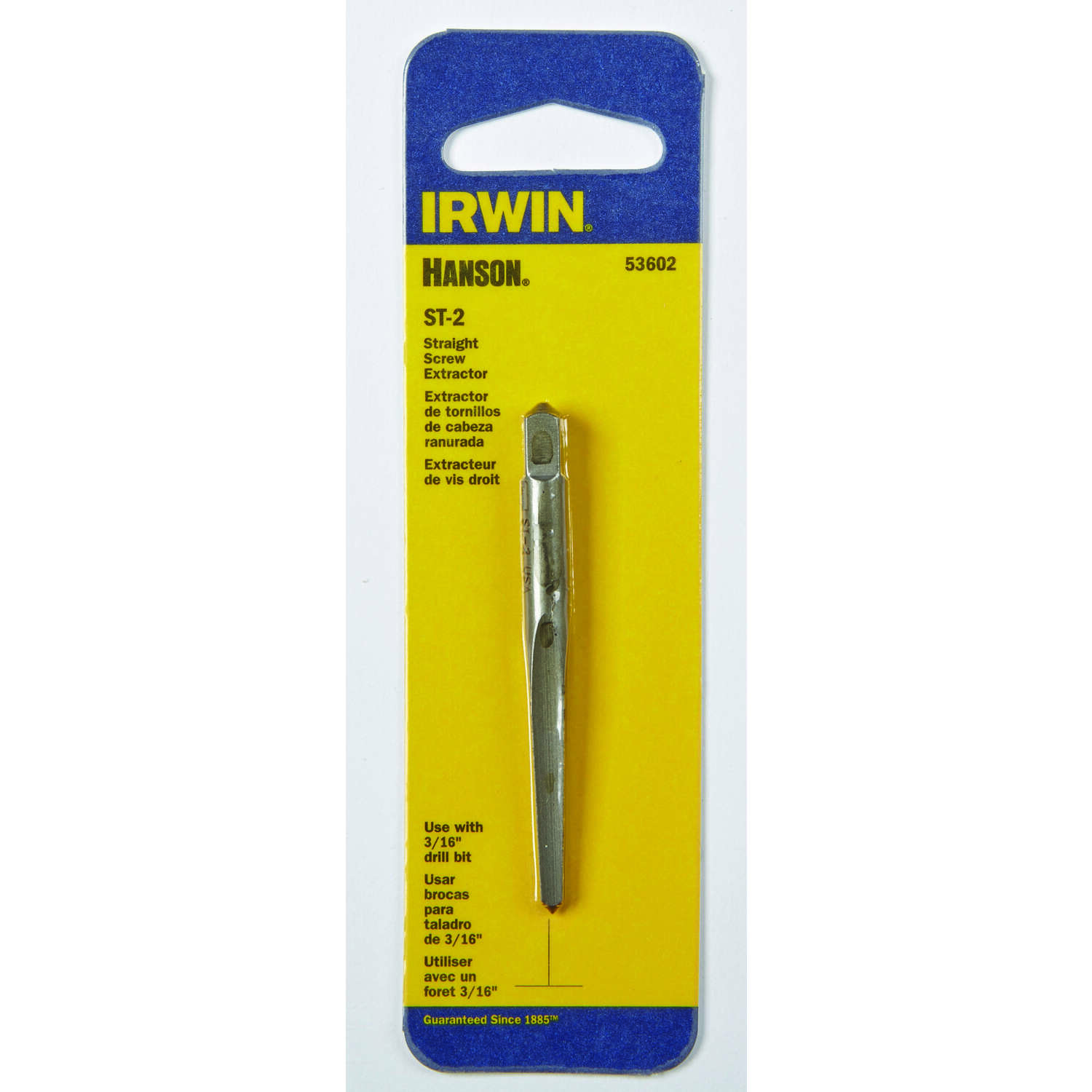 Irwin  Hanson  3/16 in.  x 3/16 in. Dia. Carbon Steel  Straight Screw Extractor  5.4 in. 1 pc.