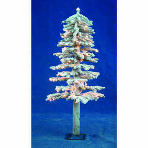 Holiday Bright Lights  Clear  Prelit 4 ft. Flocked  Artificial Tree  100 lights 337 tips