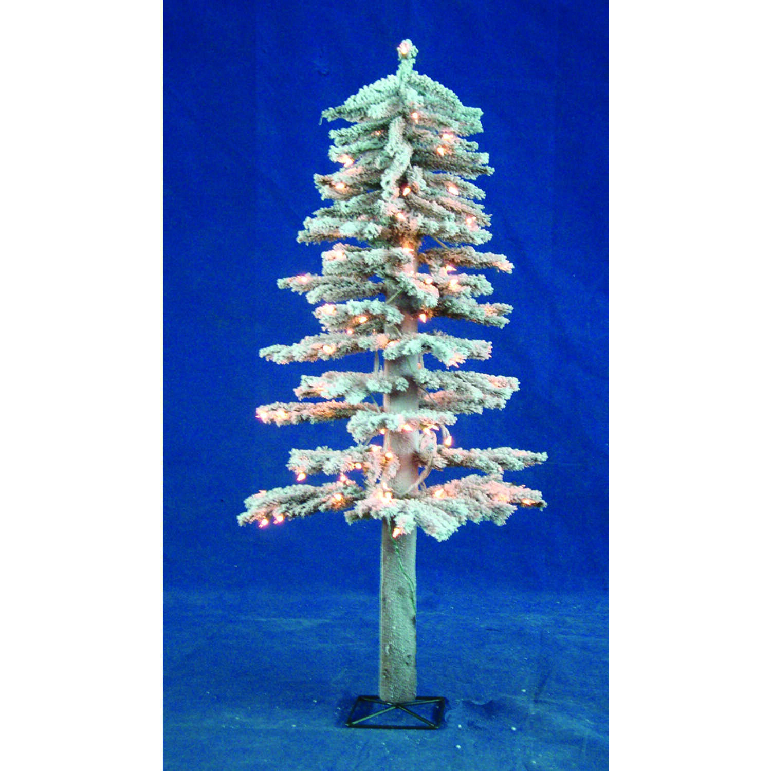 Holiday Bright Lights  4 ft. Clear  Prelit Flocked Alpine  Artificial Tree  100 lights