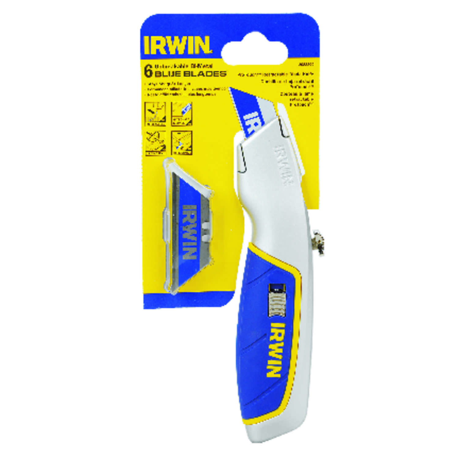 Irwin  ProTouch  7-9/32 in. Retractable  Utility Knife  Blue  1 pc.