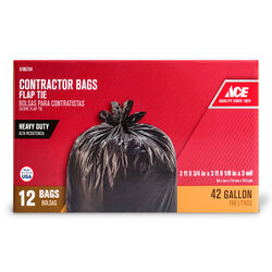 Ace  42 gal. Contractor Bags  Flap Tie  12 pk
