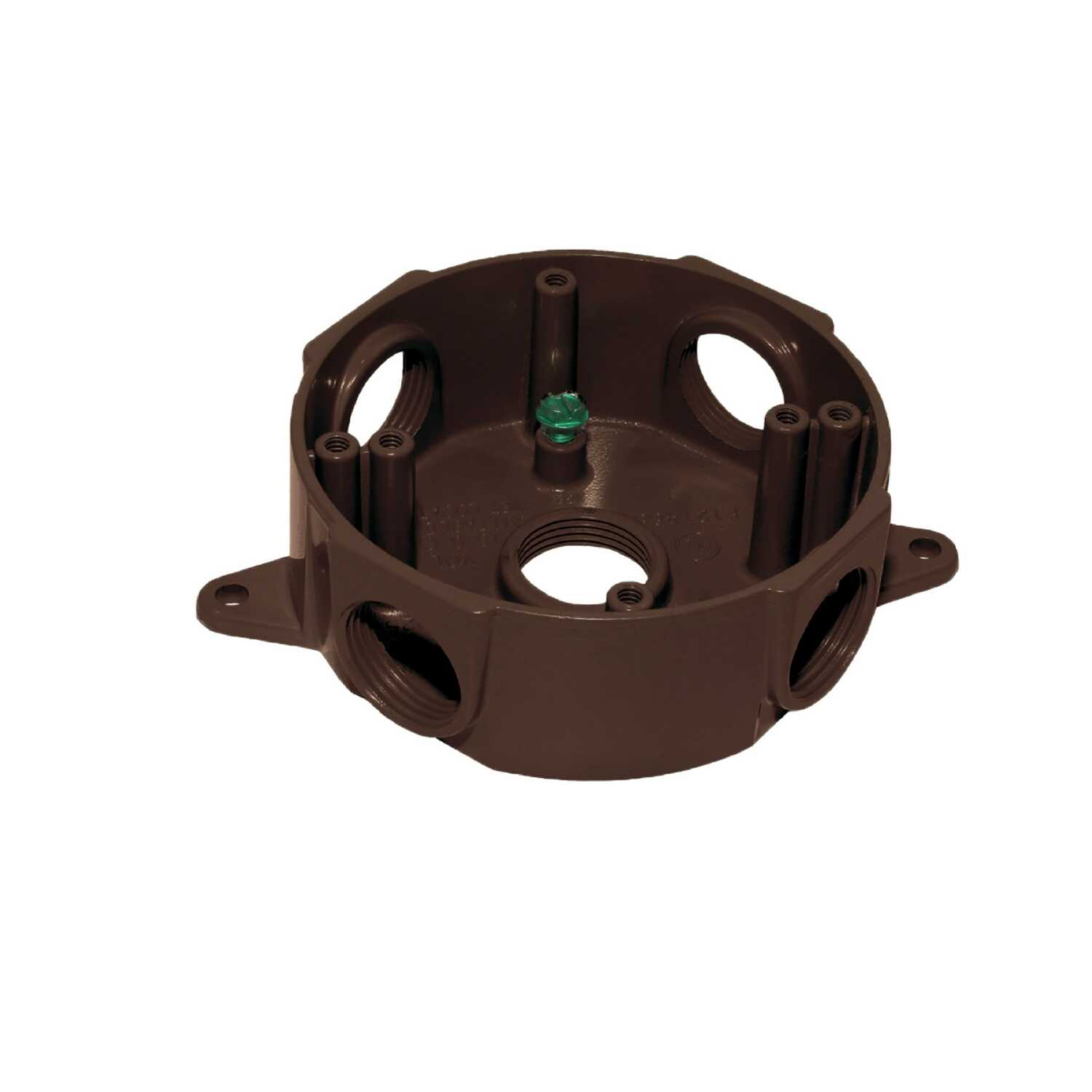 Sigma  2-5/16 in. Round  Aluminum  5 Gang  Outlet Box  Bronze  5 gang
