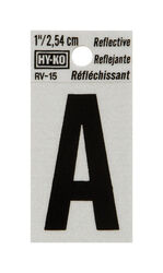 Hy-Ko 1 in. Reflective Black Vinyl Self-Adhesive Letter A 1 pc.