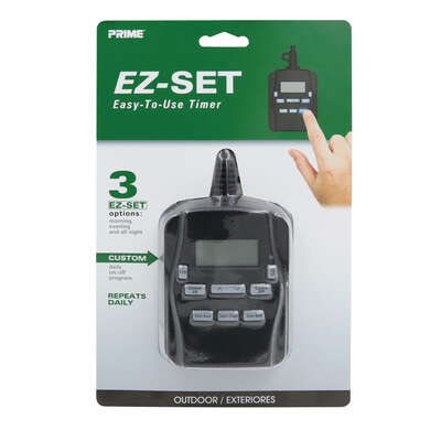 Prime  EZ-SET  Outdoor  Digital Timer  120 volt Black