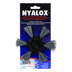 DICO NYALOX  4 in. Dia. x 1/4 in.  Aluminum Oxide  Mandrel Mounted Flap Brush  80 Grit Coarse  2500