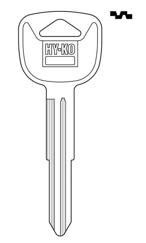 Hy-Ko  Automotive  Key Blank  Double sided For Fits 2006 And Older Ignitions