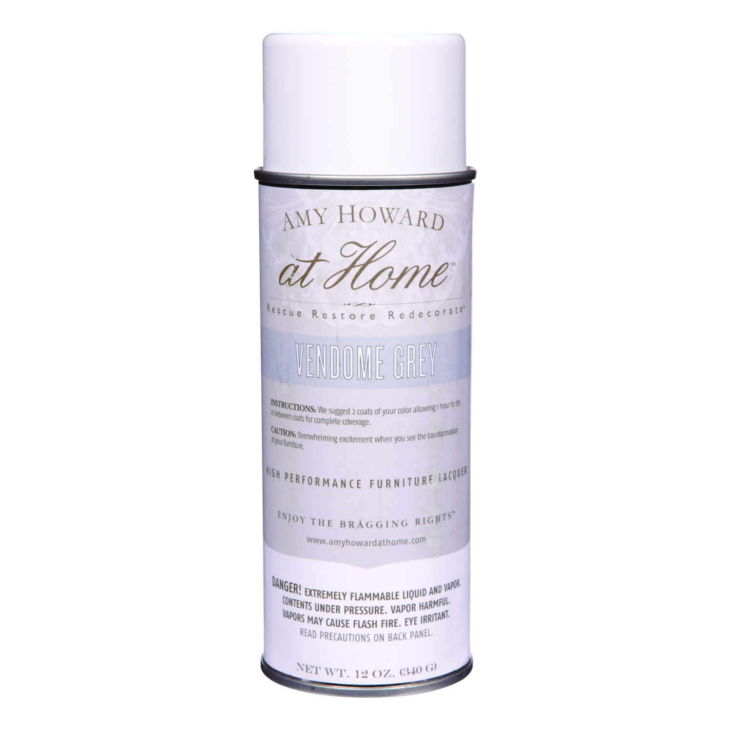 Amy Howard at Home  Gloss  Vendome Grey  High Performance Furniture Lacquer Spray  12 oz.