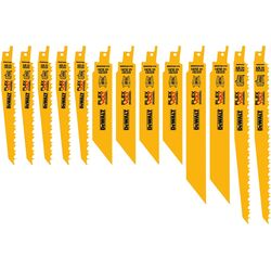 DeWalt  Flexvolt  Assorted in. Bi-Metal  Reciprocating Saw Blade Set  Multi TPI 13 pc.