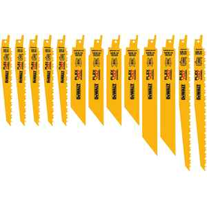DeWalt  Flexvolt  Assorted in. L Bi-Metal  Reciprocating Saw Blade Set  Multi TPI 13 pc.
