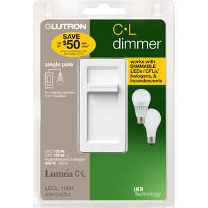 Lutron  Lumea C-L  White  150 watts Slide  Dimmer Switch  1 pk
