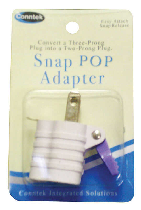 Conntek  Snap Pop  Grounded  1 outlets 3 To 2 Adapter  1 pk