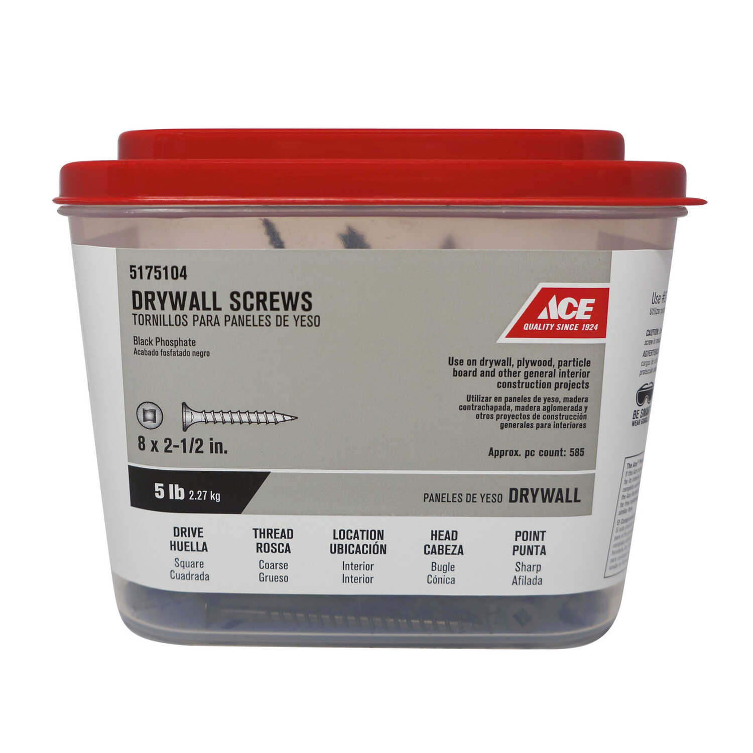 Ace  No. 8   x 2-1/2 in. L Square  Black Phosphate  Drywall Screws  5 lb. 560 pk
