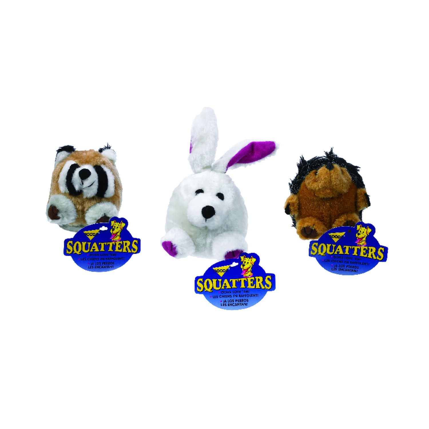 Booda  Multicolored  Hedgehog, Raccoon and Rabbit  Plush  Squatters Dog Toy  Medium