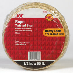 Ace  1/2 in. Dia. x 50 ft. L Tan  Twisted  Sisal  Rope