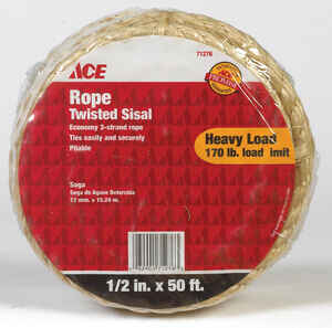 Ace  50 ft. L x 1/2 in. Dia. Twisted  Tan  Sisal  Rope
