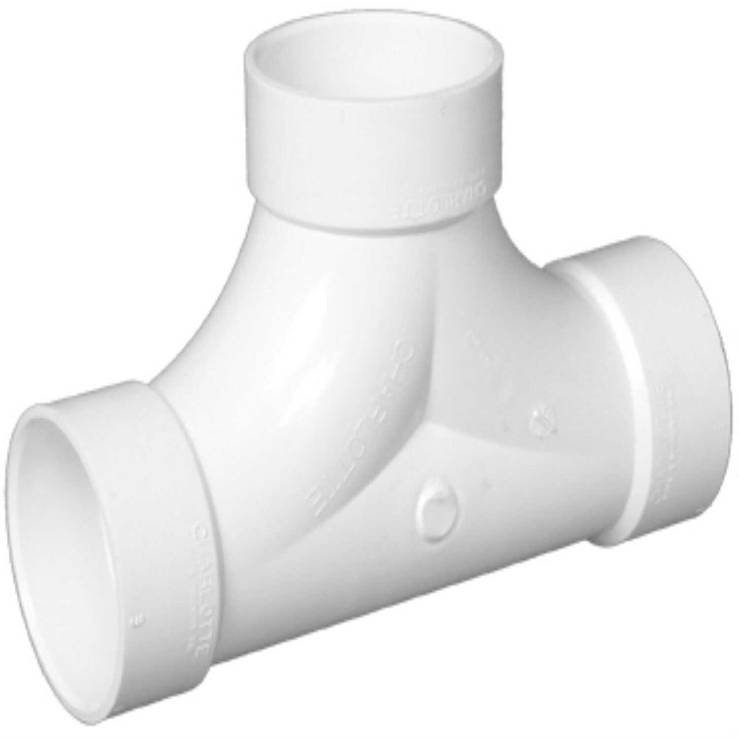 Charlotte Pipe  Schedule 40  4 in. Hub   x 4 in. Dia. Hub  PVC  2-Way Cleanout Tee