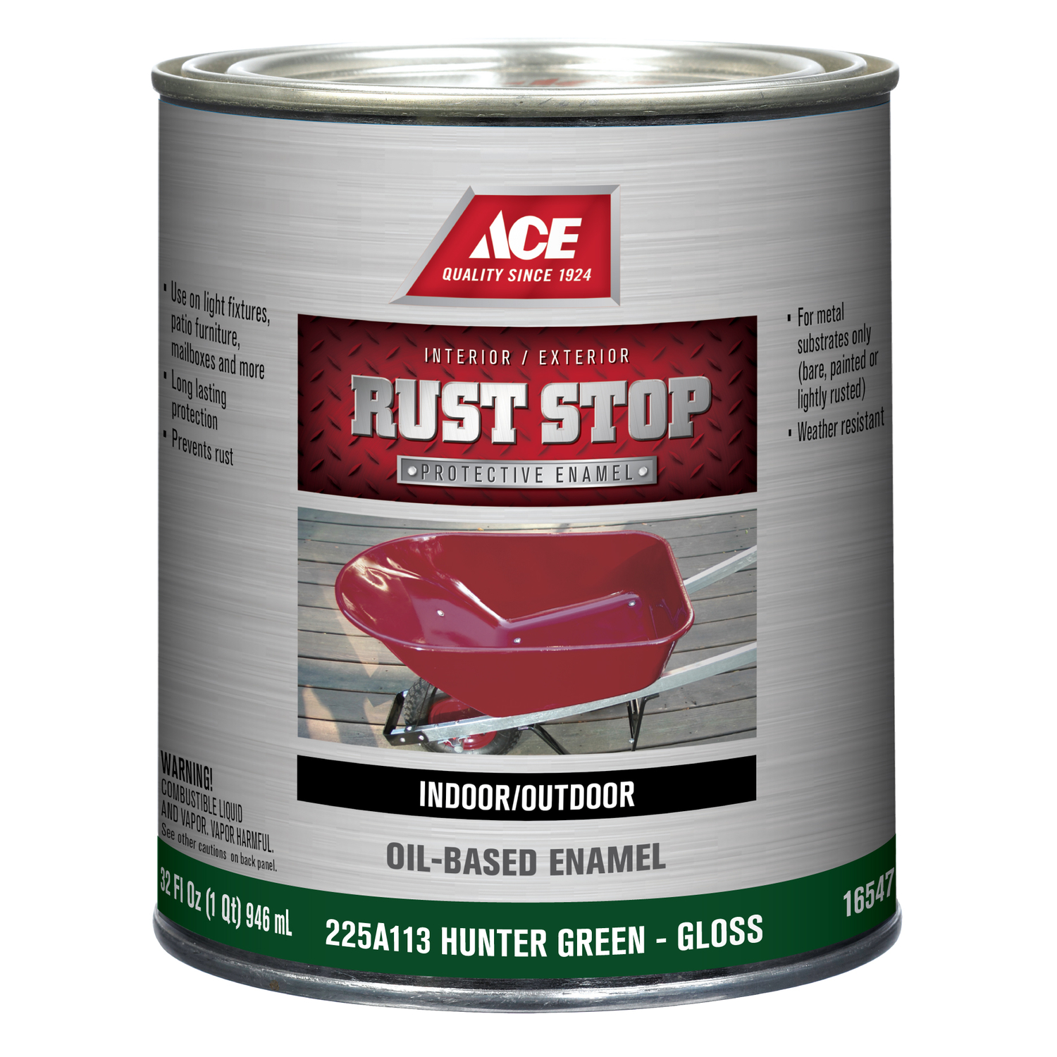 Ace  Rust Stop  Indoor and Outdoor  Gloss  Interior/Exterior  Rust Prevention Paint  1 qt. Hunter Gr