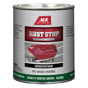Ace  Rust Stop  Indoor and Outdoor  Gloss  Hunter Green  Rust Prevention Paint  1 qt.