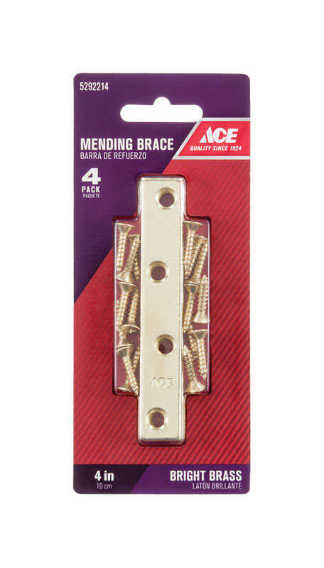 Ace  4 in. H x 0.625 in. W x .72 in. L Bright  Brass  Mending Brace