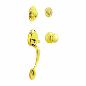 Schlage  Plymouth  Bright Brass  Entry Handleset  ANSI Grade 2  1-3/4 in.