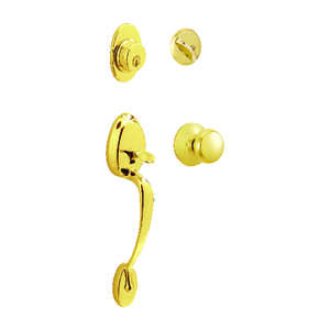 Schlage  Plymouth  Bright Brass  Steel  Entry Handleset  ANSI Grade 2  1-3/4 in.