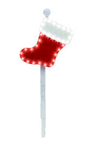 Santa's Best  LED Stocking Stake  Christmas Decoration  Red/White  Plastic  1 each