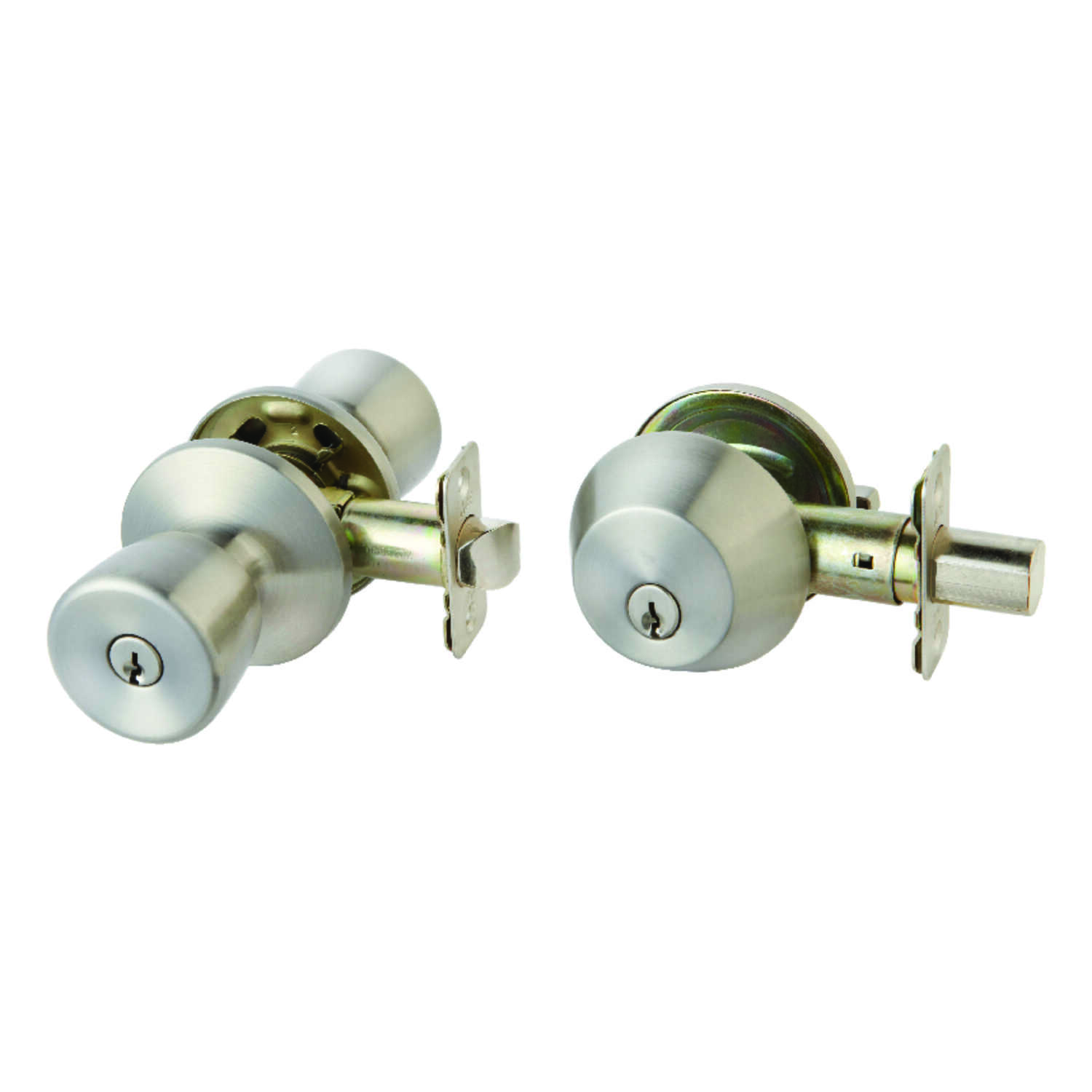 Ace  Tulip  Satin  Stainless Steel  Entry Lever and Deadbolt Set  ANSI/BHMA Grade 3  1-3/4 in.