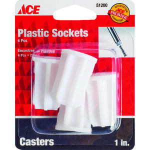 Ace  5/16 in. Dia. Plastic  Caster Socket  4 pk