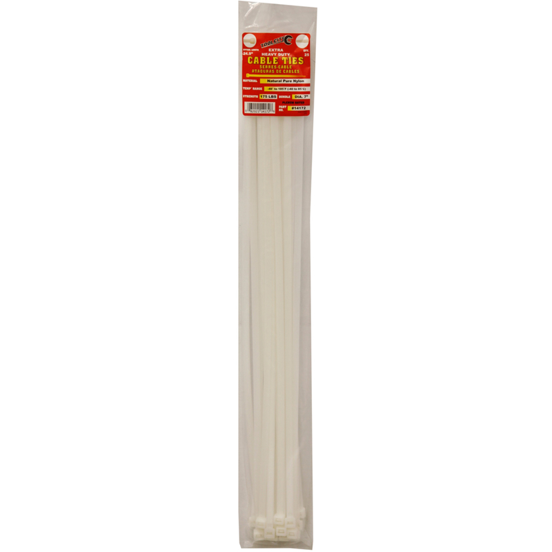 Tool City  24.9 in. L Cable Tie  25 pk White