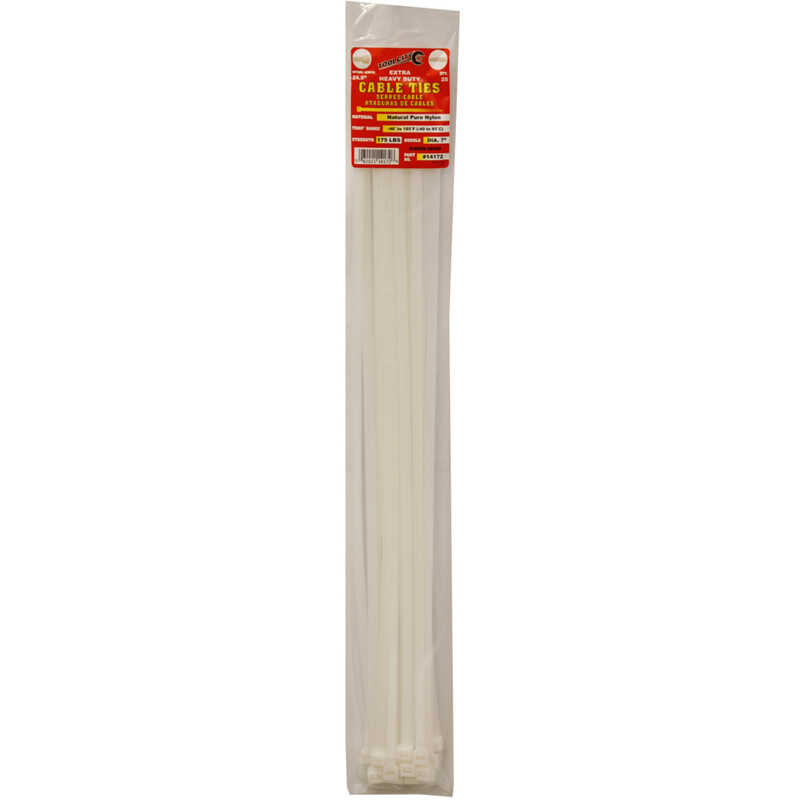 Tool City  24.9 in. L White  Cable Tie  25 pk