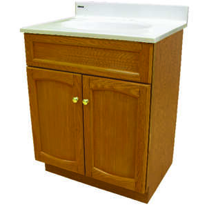Heartland Vanity with Marble Top 30 in. x 24 in. x 18 in. Genuine Oak