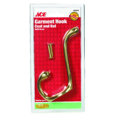 Ace 3-1/2 in. L Bright Brass Gold Brass Medium Garment Hook 1 pk