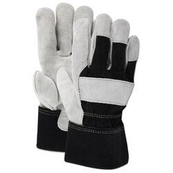 Ace Men's Indoor/Outdoor Cotton/Leather Work Gloves Black/Gray XL 1 pair