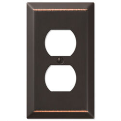 Amerelle Century Aged Bronze Bronze 1 gang Stamped Steel Duplex Outlet Wall Plate 1 pk