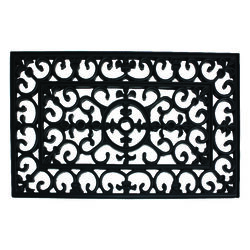 J & M Home Fashions  Black  Rubber  Nonslip Door Mat  30 in. L x 18 in. W