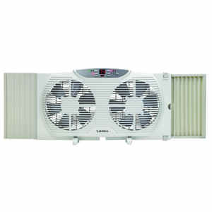 Lasko  10.23 in. H x 9 in. Dia. 3 speed Electric  Electronically Reversible Twin Window Fan