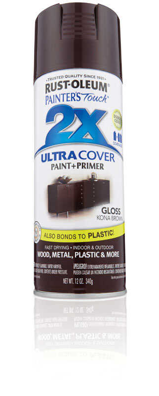 Rust-Oleum  Painter's Touch Ultra Cover  Gloss  Kona Brown  Spray Paint  12 oz.