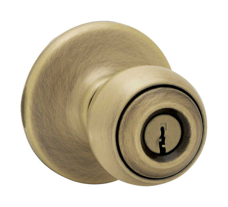 Kwikset  Polo  Antique Brass  Steel  Entry Knobs  ANSI/BHMA Grade 3  1-3/4 in.