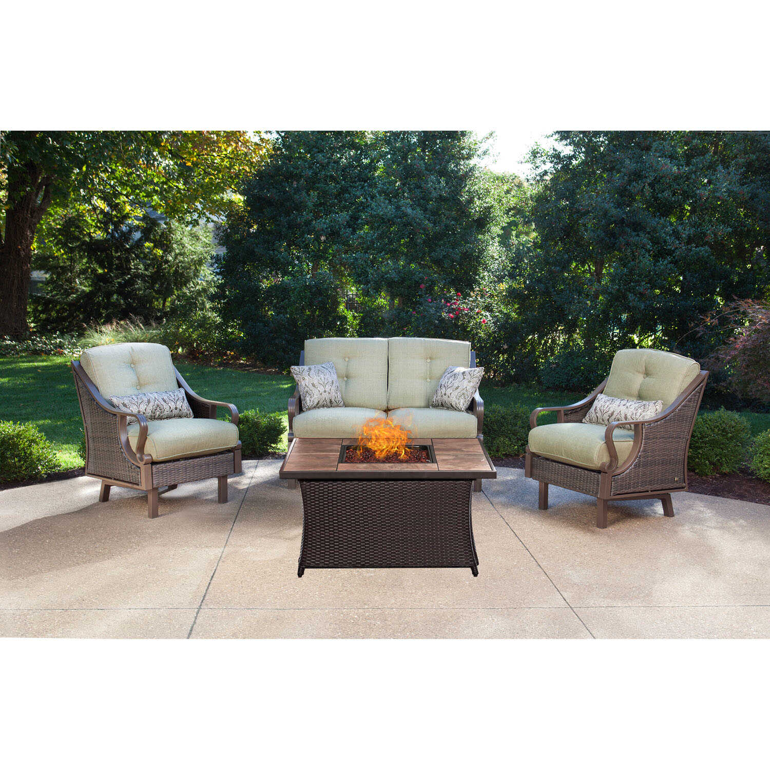 Hanover  Ventura  4 pc. Cocoa Stone  Steel  Tile  Firepit Set  Vinatage Meadow