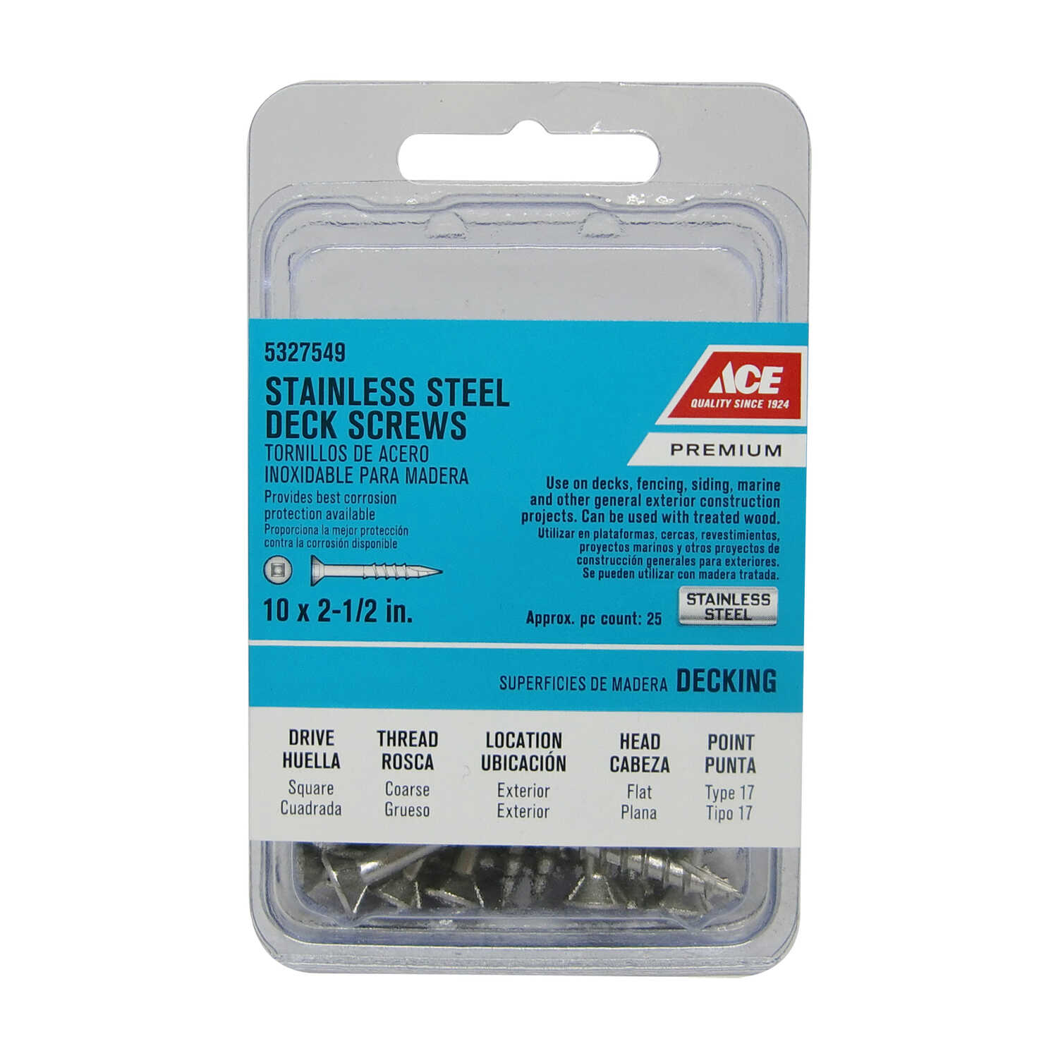 Ace  No. 10   x 2-1/2 in. L Square  Stainless Steel  Deck Screws  Bugle Head 25 pk