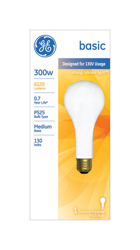 GE Lighting  300 watts PS25  Incandescent Light Bulb  6120 lumens White (Frosted)  Pear Straight  1