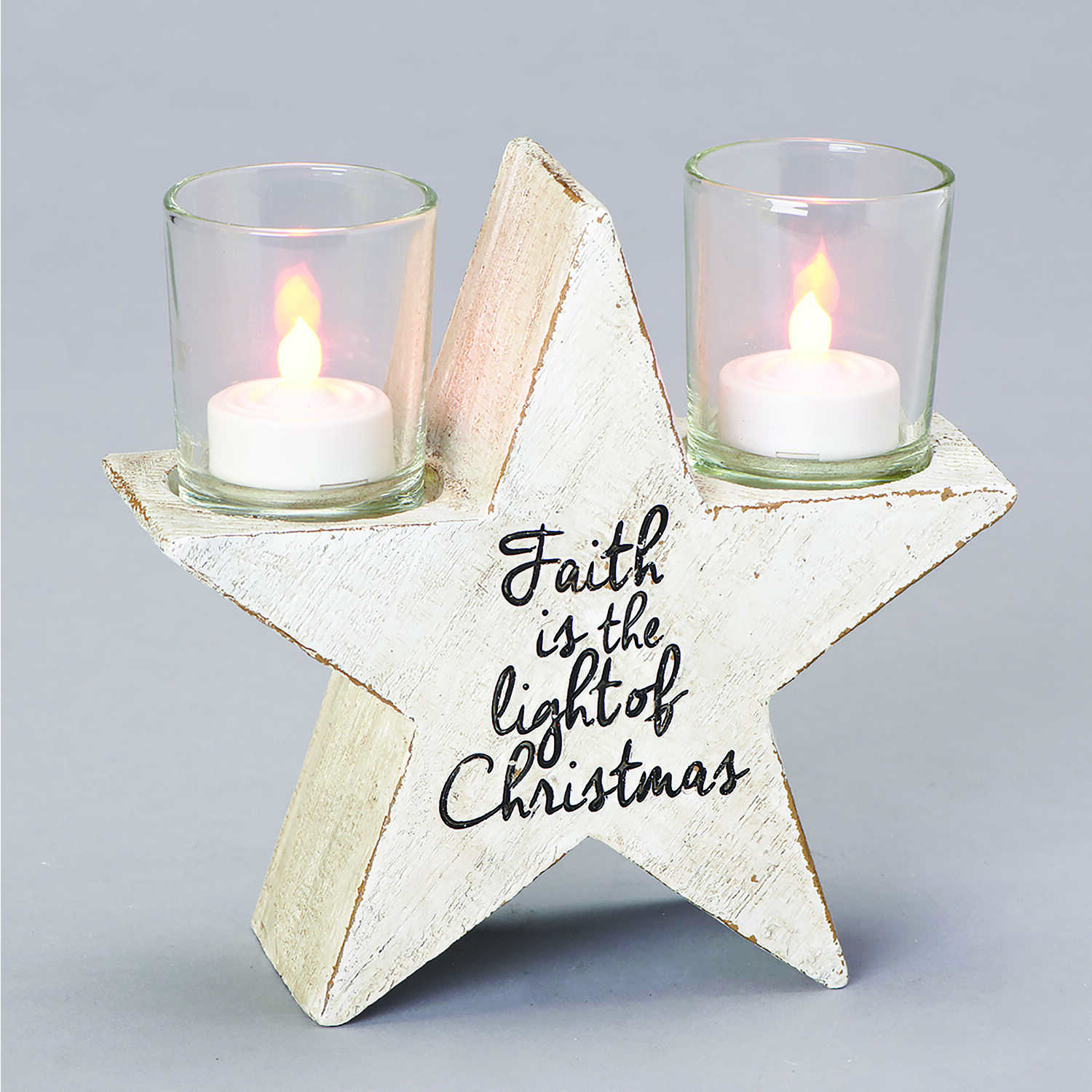 Roman  Rustic Star Candleholder  Christmas Decoration  Resin  1 pk White