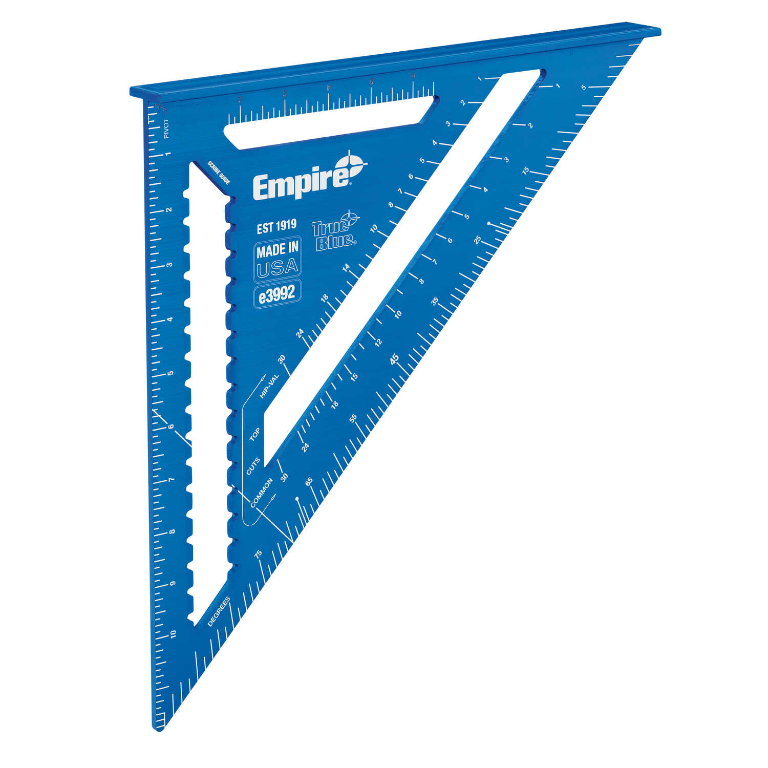 Empire  True Blue  12 in. L x 12 in. H Anodized Aluminum  Rafter Square  Blue  Laser Etched