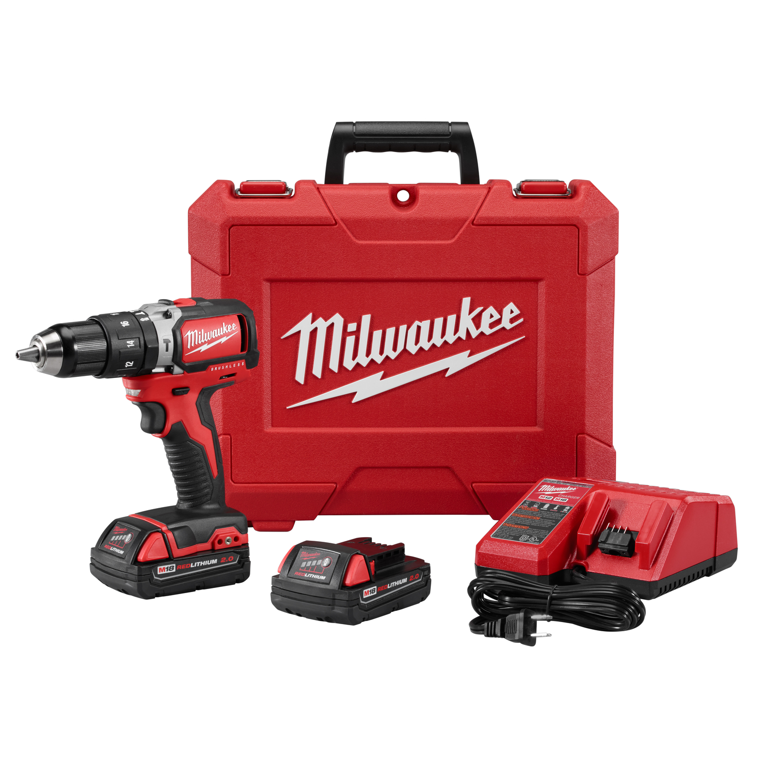 Milwaukee  M18  18 volt 1/2 in. Brushless Cordless Hammer Drill/Driver  Kit 1800 rpm 2 speed