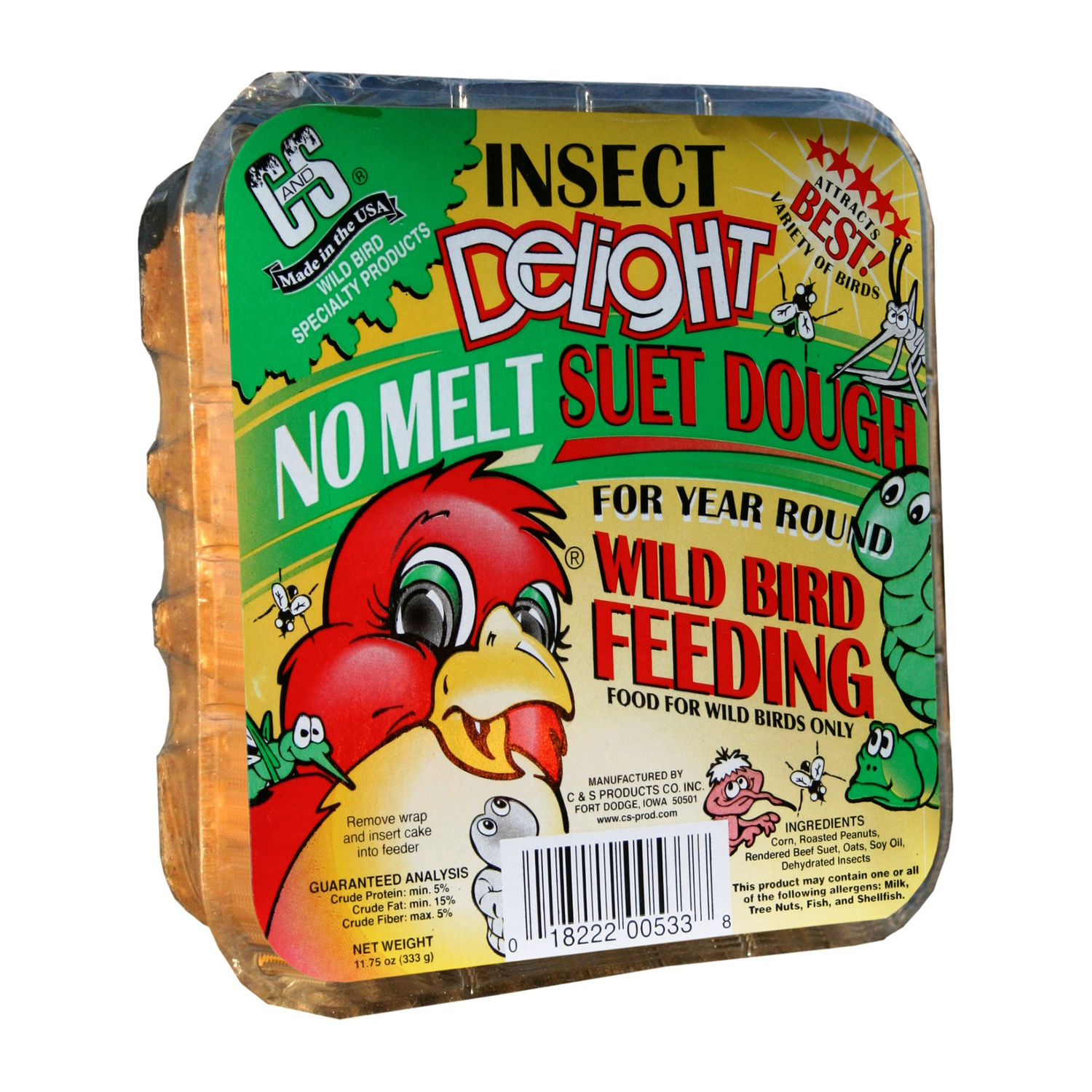 C&S Products  Insect Delight  Assorted Species  Suet  Beef Suet  11.75 oz.