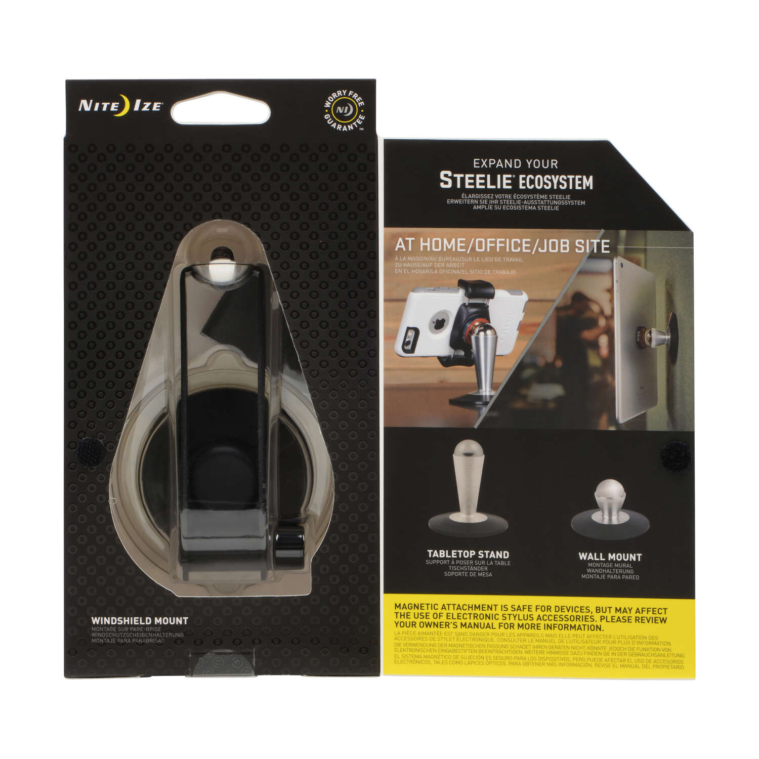Nite Ize  Steelie  Black/Silver  Windshield Cell Phone Mount  For Universal Universal