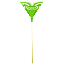 Bloom 24 in. W Poly Fan Rake Wood Handle