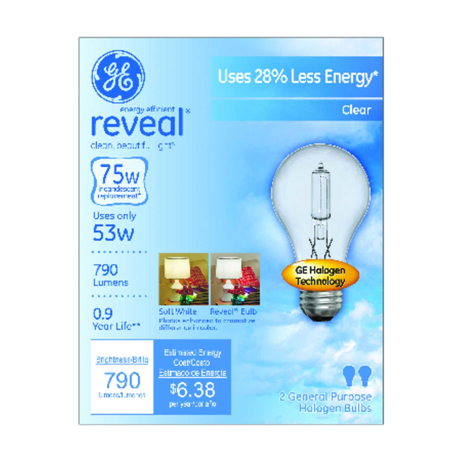 GE Lighting  Reveal  53 watts A19  Halogen Bulb  790 lumens Daylight  2 pk A-Line  Medium Base (E26)