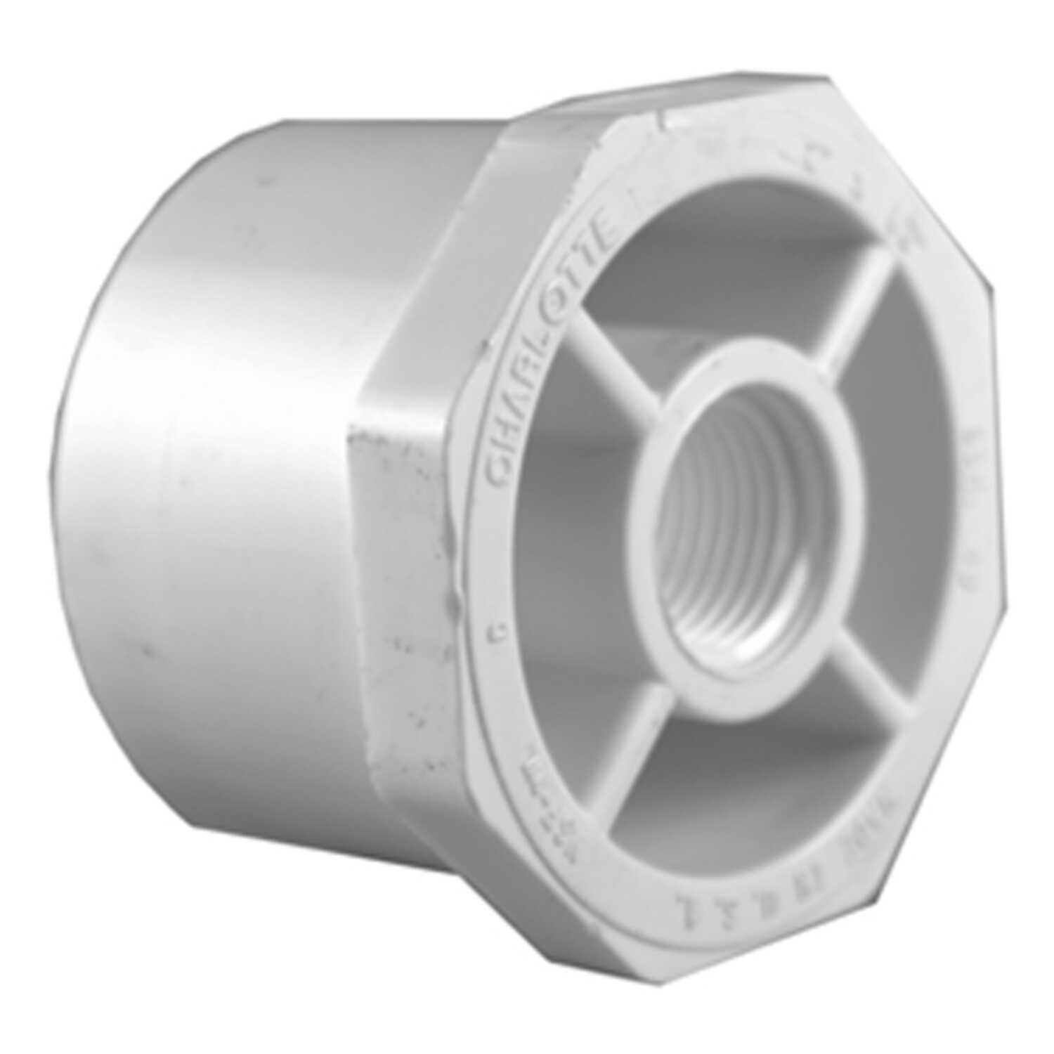 Charlotte Pipe  Schedule 40  1-1/4 in. Spigot   x 1 in. Dia. FPT  PVC  Reducing Bushing